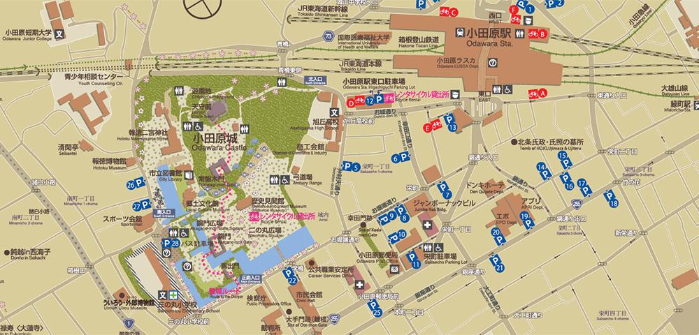 小田原城登城ルートマップ